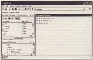 Figure 1.1-1 The default MATLAB Desktop.